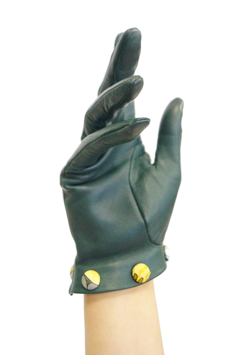Gray Hermes Green Calfskin Gloves with optional Silk Scarf Cuff For Sale