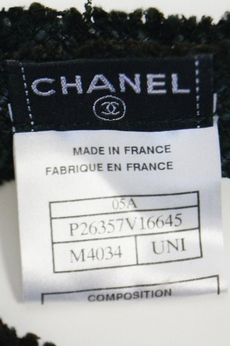 Chanel Black Tweed Bow Tie For Sale 2