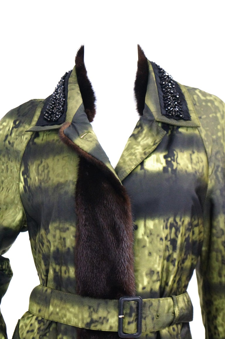 Black Important 2004 Runway Prada Green Coat with Mink Trim and Bead Detail 44 For Sale