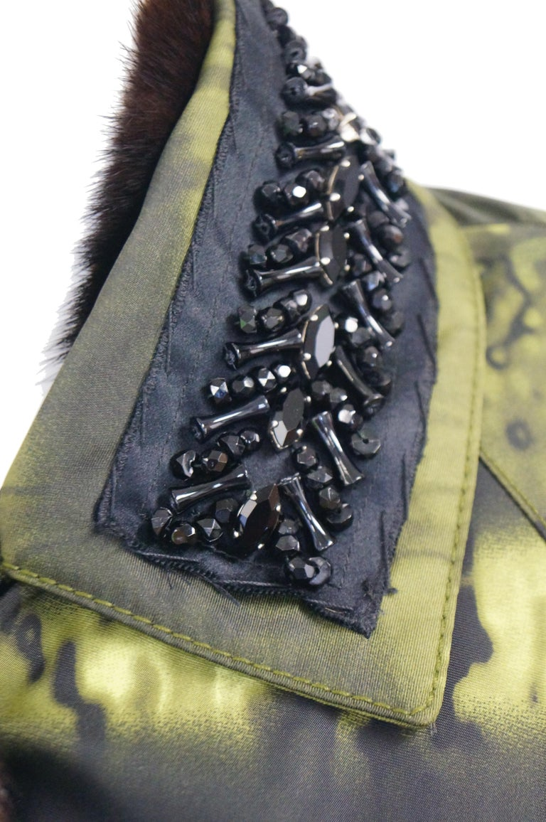 Important 2004 Runway Prada Green Coat with Mink Trim and Bead Detail 44 For Sale 1