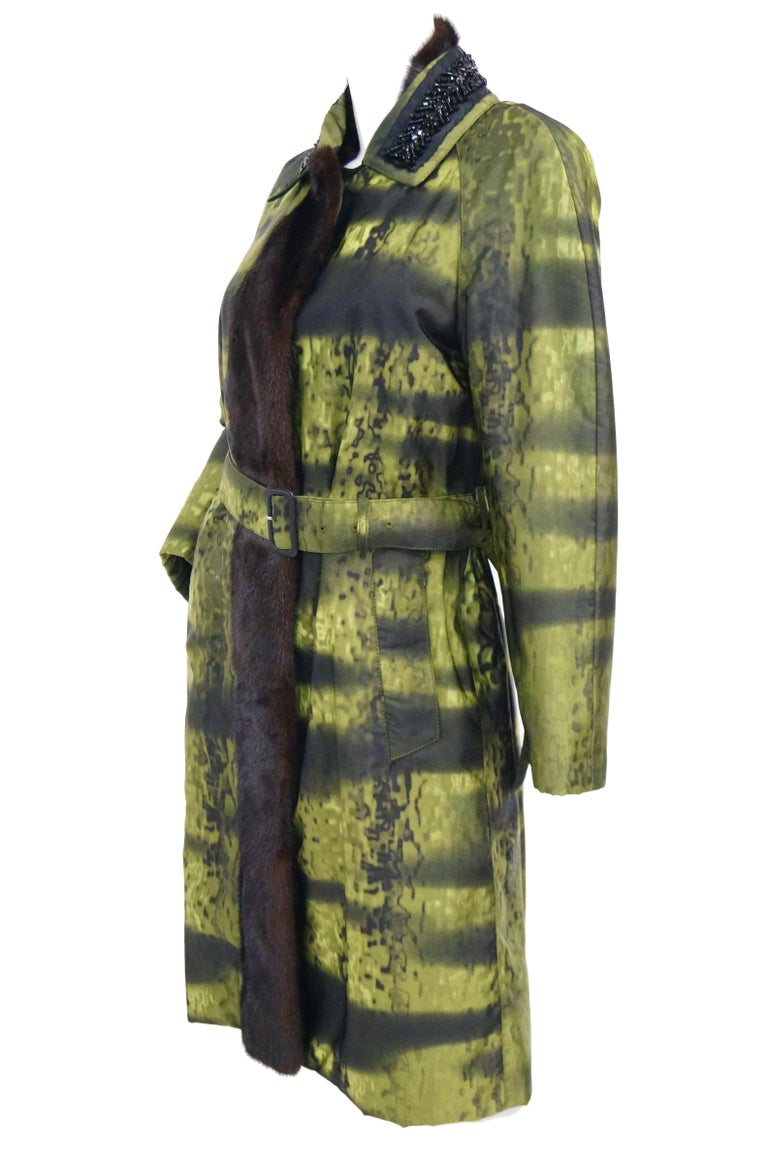 Important 2004 Runway Prada Green Coat with Mink Trim and Bead Detail 44 For Sale 2