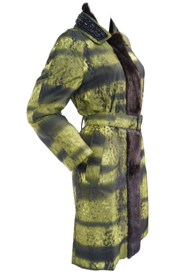 Important 2004 Runway Prada Green Coat with Mink Trim and Bead Detail 44 For Sale 3