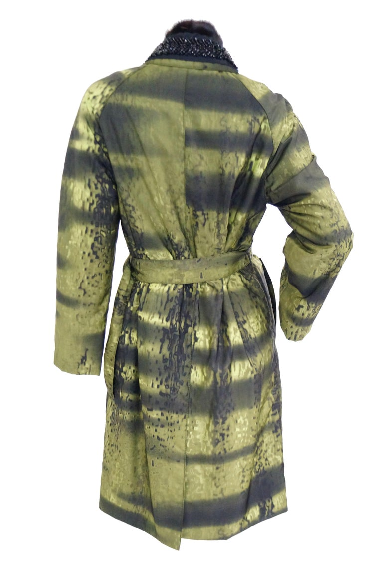 Important 2004 Runway Prada Green Coat with Mink Trim and Bead Detail 44 For Sale 5