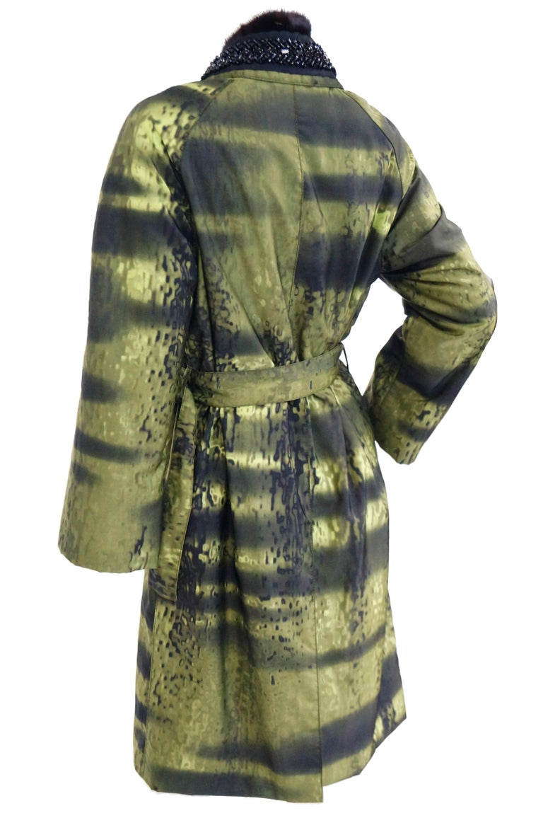 Important 2004 Runway Prada Green Coat with Mink Trim and Bead Detail 44 For Sale 6