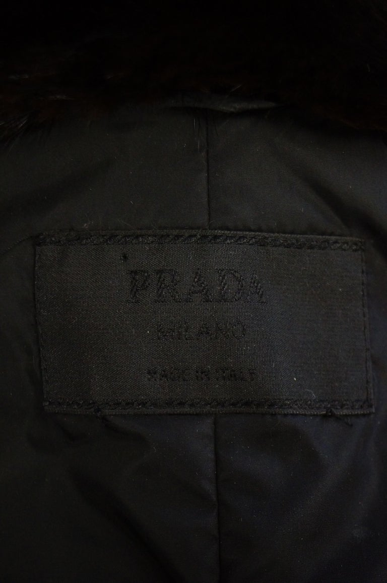 Important 2004 Runway Prada Green Coat with Mink Trim and Bead Detail 44 For Sale 8