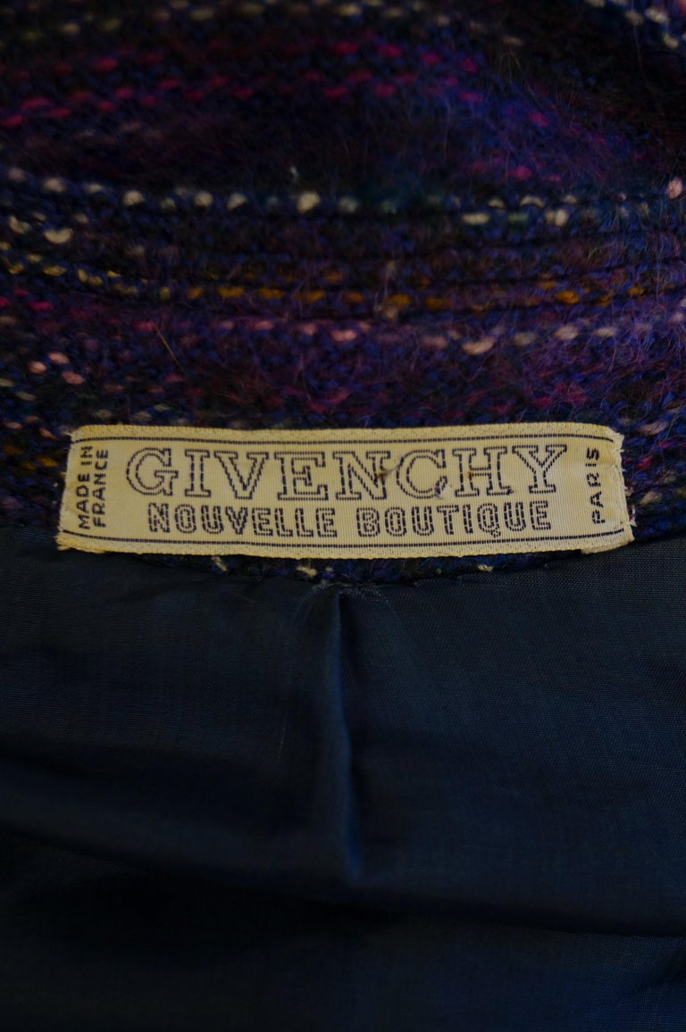 1960s Givenchy Aubergine Angora Wool Shift Dress For Sale 3