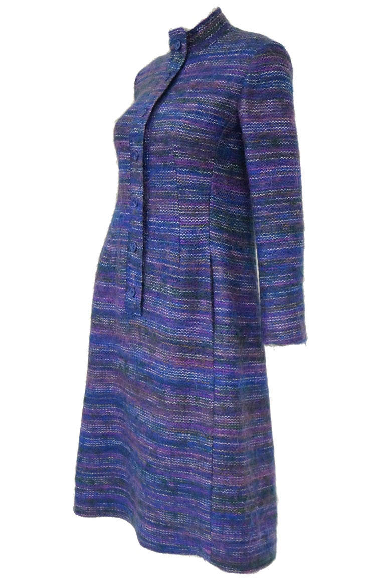 Purple 1960s Givenchy Aubergine Angora Wool Shift Dress For Sale