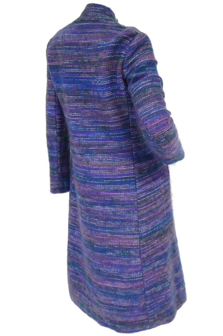 1960s Givenchy Aubergine Angora Wool Shift Dress For Sale 1