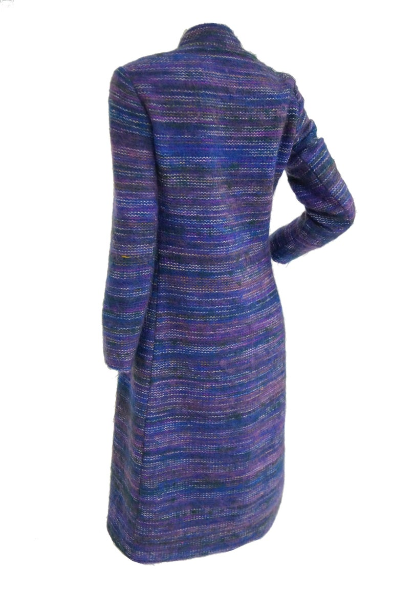 1960s Givenchy Aubergine Angora Wool Shift Dress For Sale 2