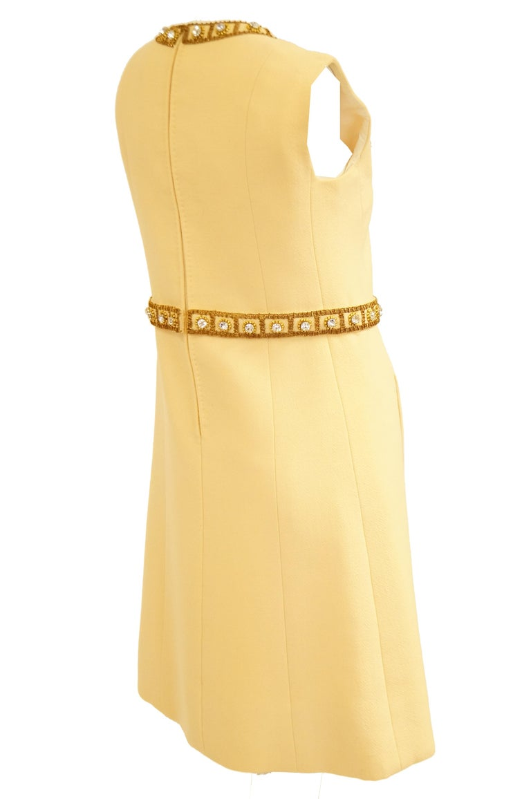 1960s Couture Cardinali Mod Shift Dress W/ Rhinestones & Gold Passementerie For Sale 5