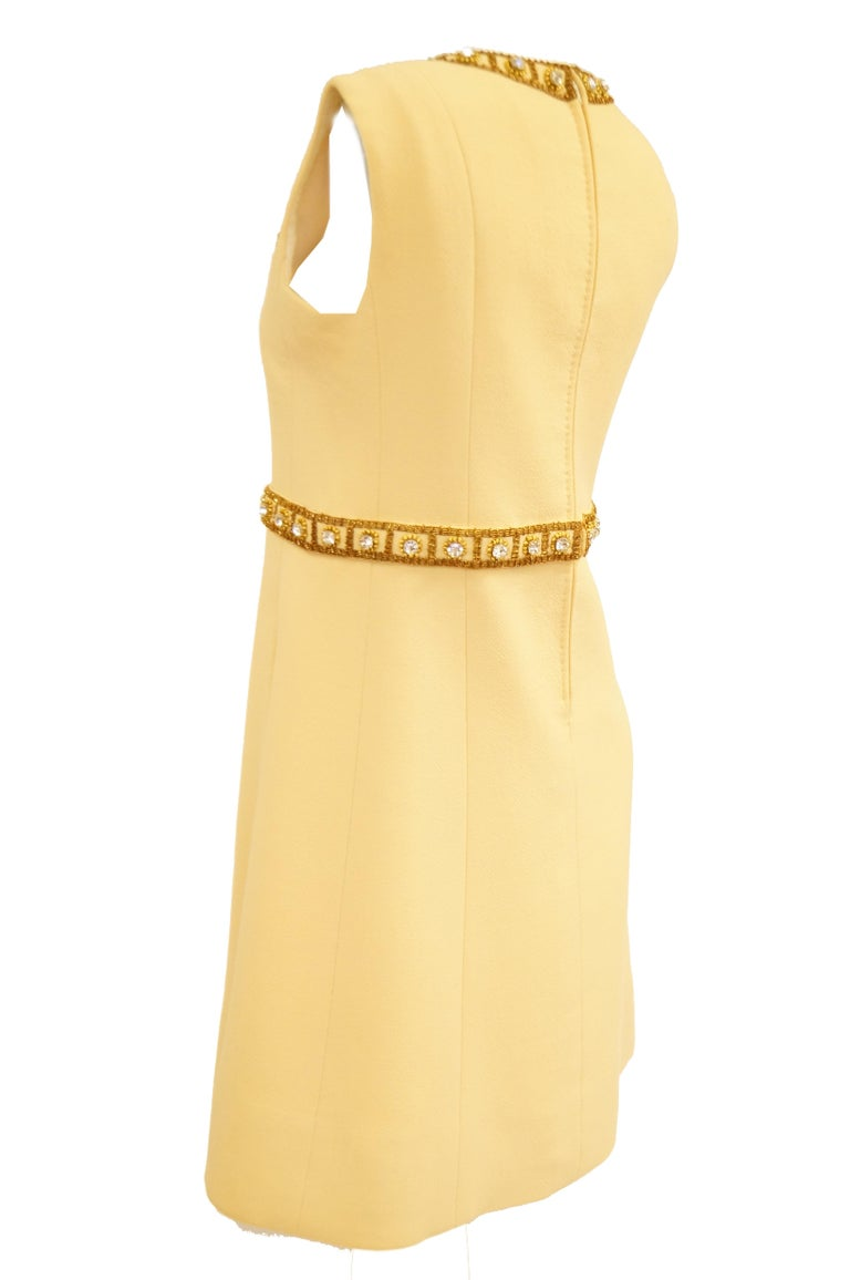 1960s Couture Cardinali Mod Shift Dress W/ Rhinestones & Gold Passementerie For Sale 3