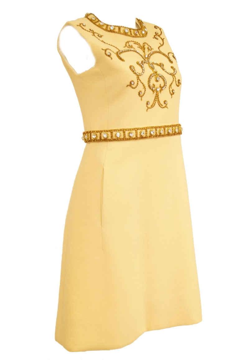 1960s Couture Cardinali Mod Shift Dress W/ Rhinestones & Gold Passementerie For Sale 6