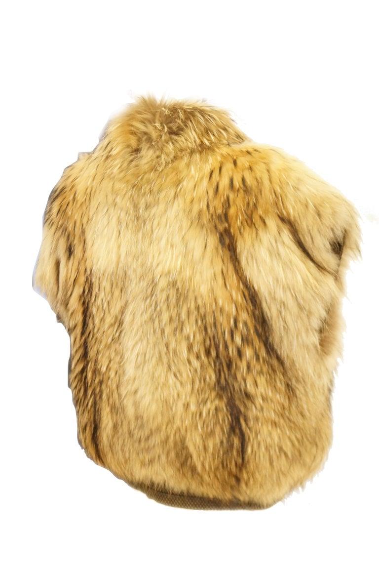 1980s Golden Brown Fur Puffer Vest For Sale 3