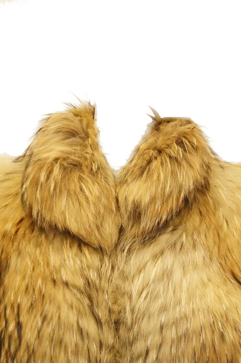 Women's 1980s Golden Brown Fur Puffer Vest For Sale