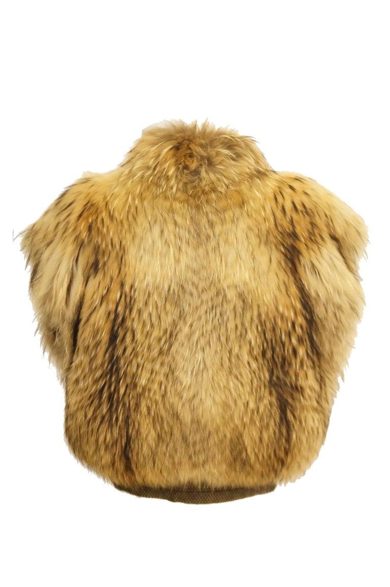 1980s Golden Brown Fur Puffer Vest For Sale 1