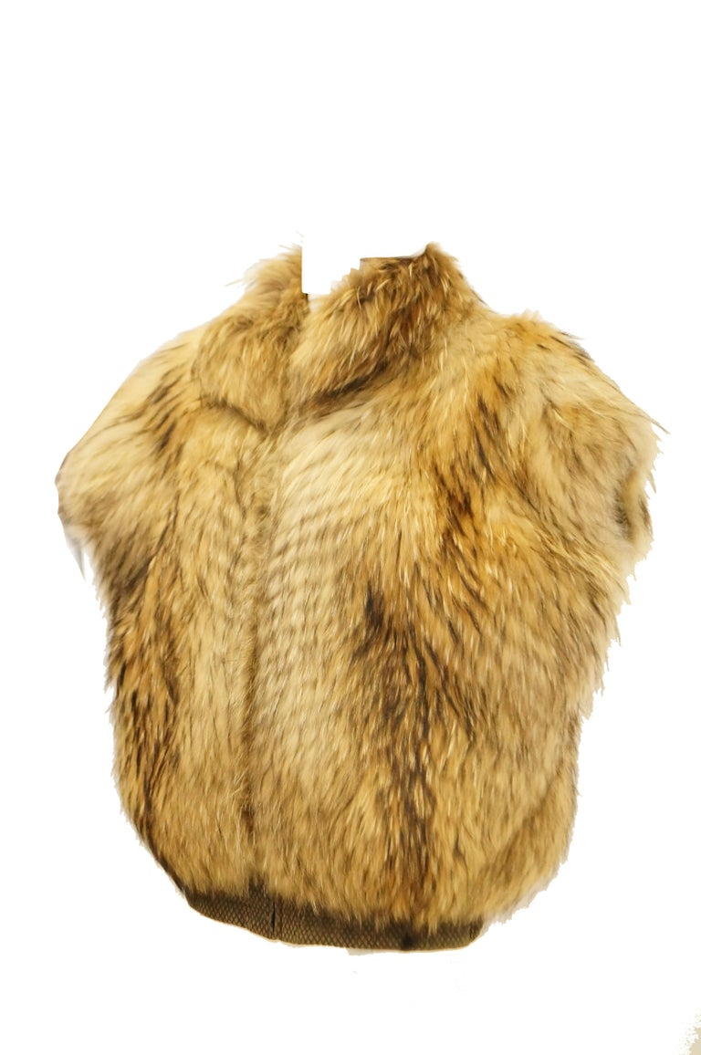 1980s Golden Brown Fur Puffer Vest In Excellent Condition For Sale In Houston, TX
