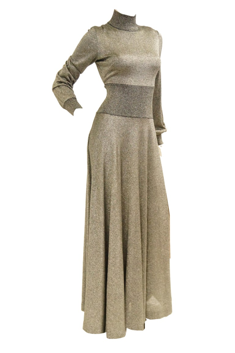 Brown 1970s Emilio Pucci Metallic Silver Knit Gown S For Sale