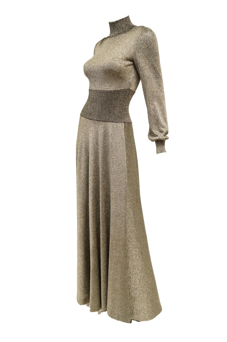 1970s Emilio Pucci Metallic Silver Knit Gown S In Excellent Condition For Sale In Houston, TX