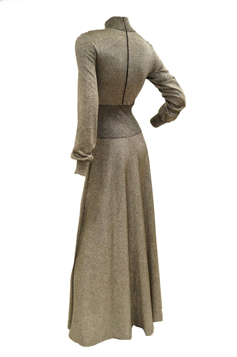 1970s Emilio Pucci Metallic Silver Knit Gown S For Sale 2