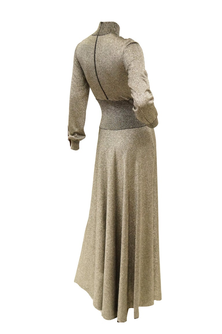 1970s Emilio Pucci Metallic Silver Knit Gown S For Sale 3