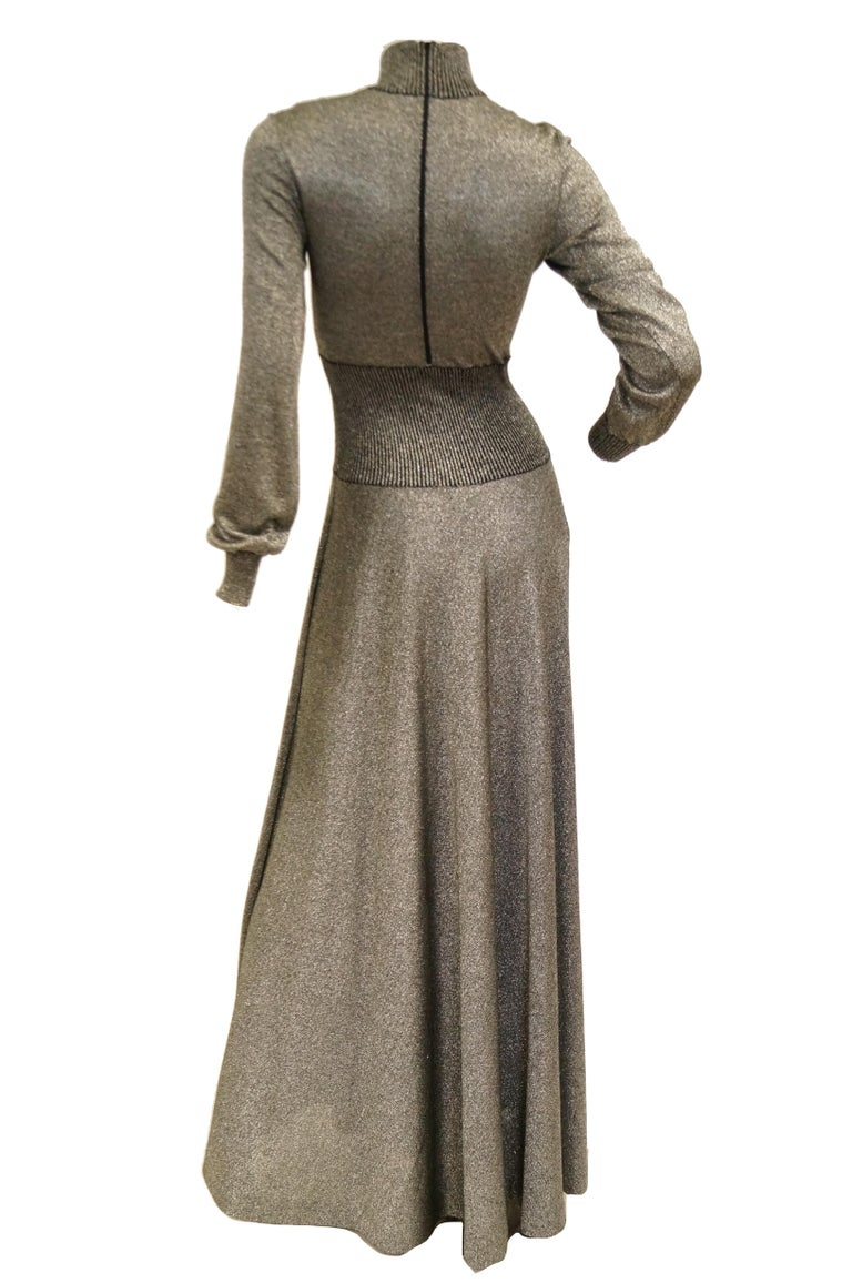 1970s Emilio Pucci Metallic Silver Knit Gown S For Sale 4