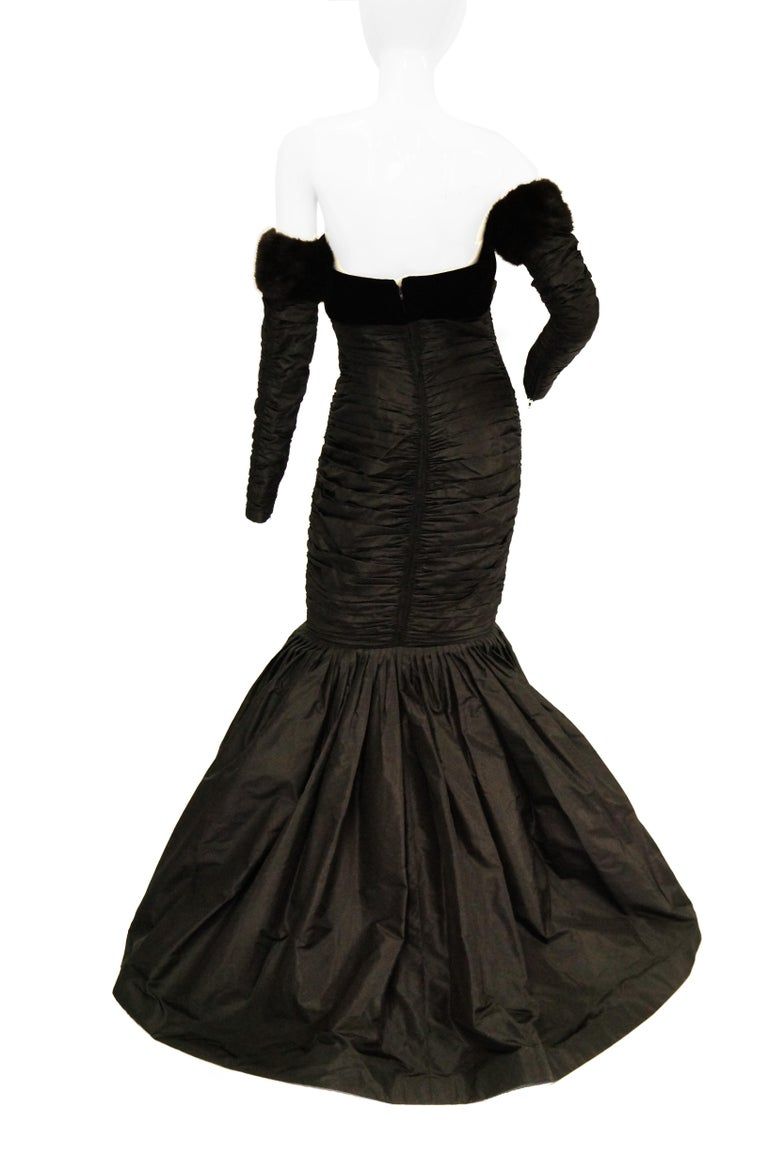 1980s Nina Ricci Couture Black Evening Dress with Sleeves For Sale 3