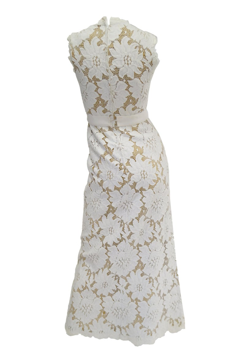 Women's 1970s White Large Scale Floral Lace Dress  For Sale