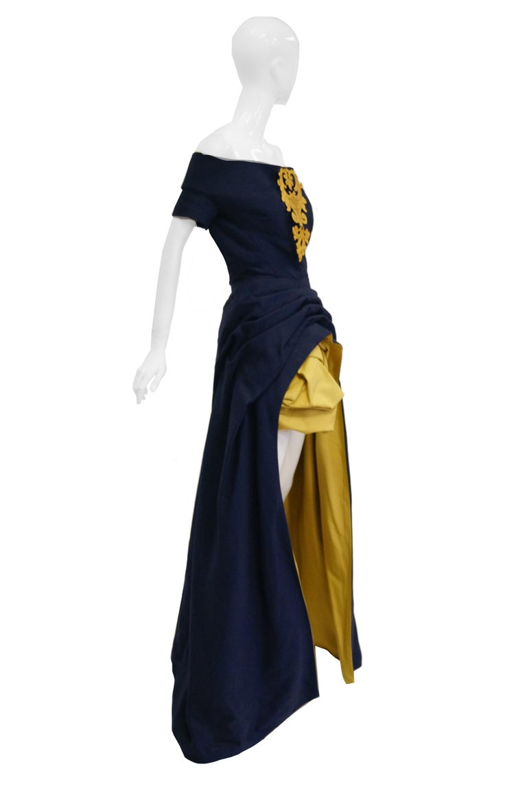 1991 Christian Lacroix Couture Navy Linen and Gold Silk Shantung Evening Gown 32 For Sale 2