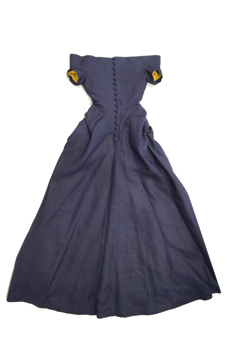 1991 Christian Lacroix Couture Navy Linen and Gold Silk Shantung Evening Gown 32 For Sale 3