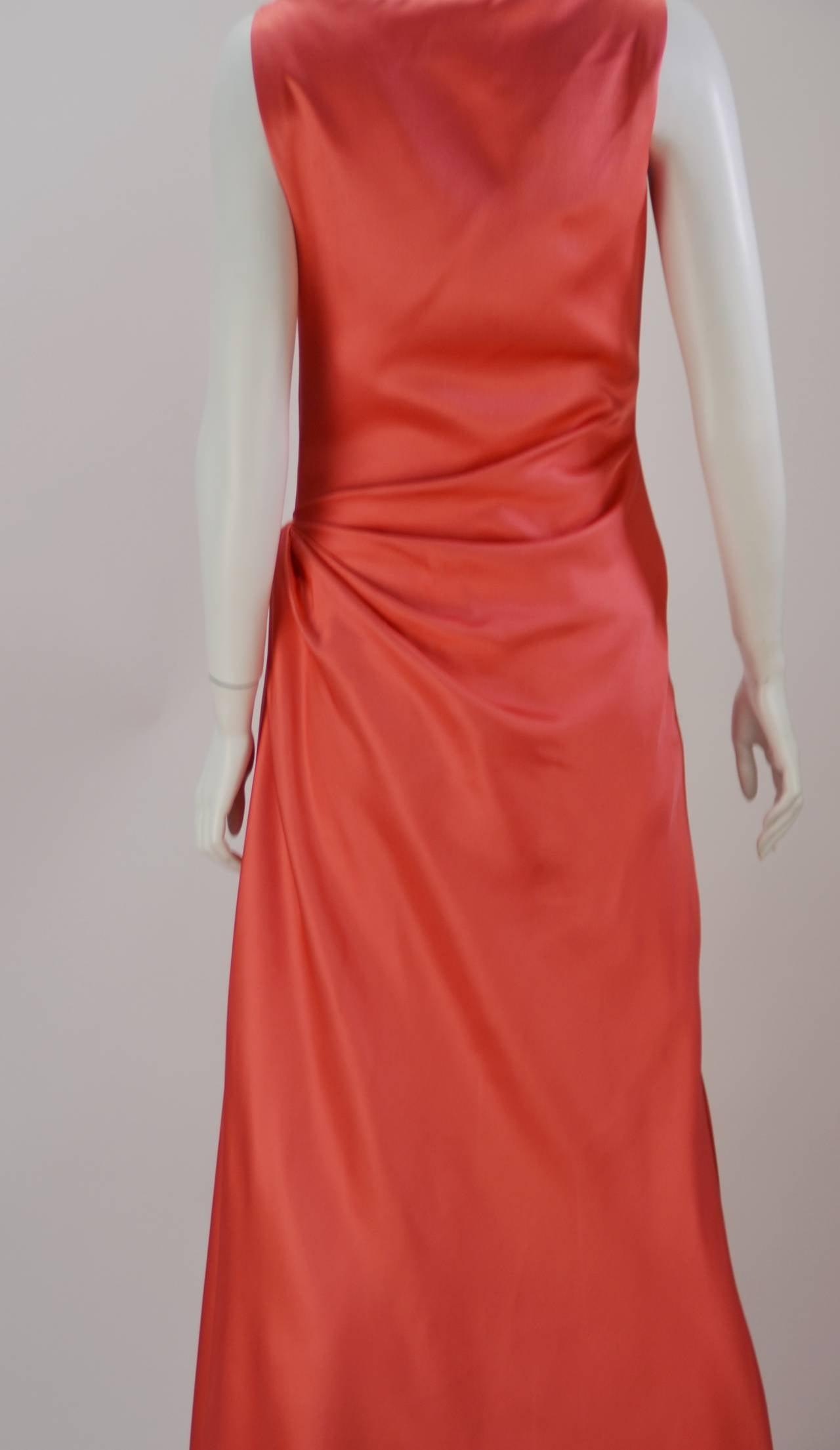 1970s Bill Blass Coral Evening Gown 3