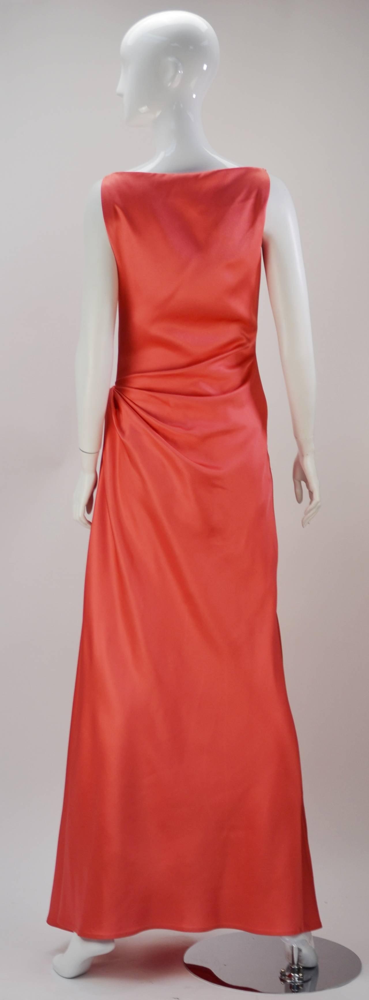 1970s Bill Blass Coral Evening Gown 2