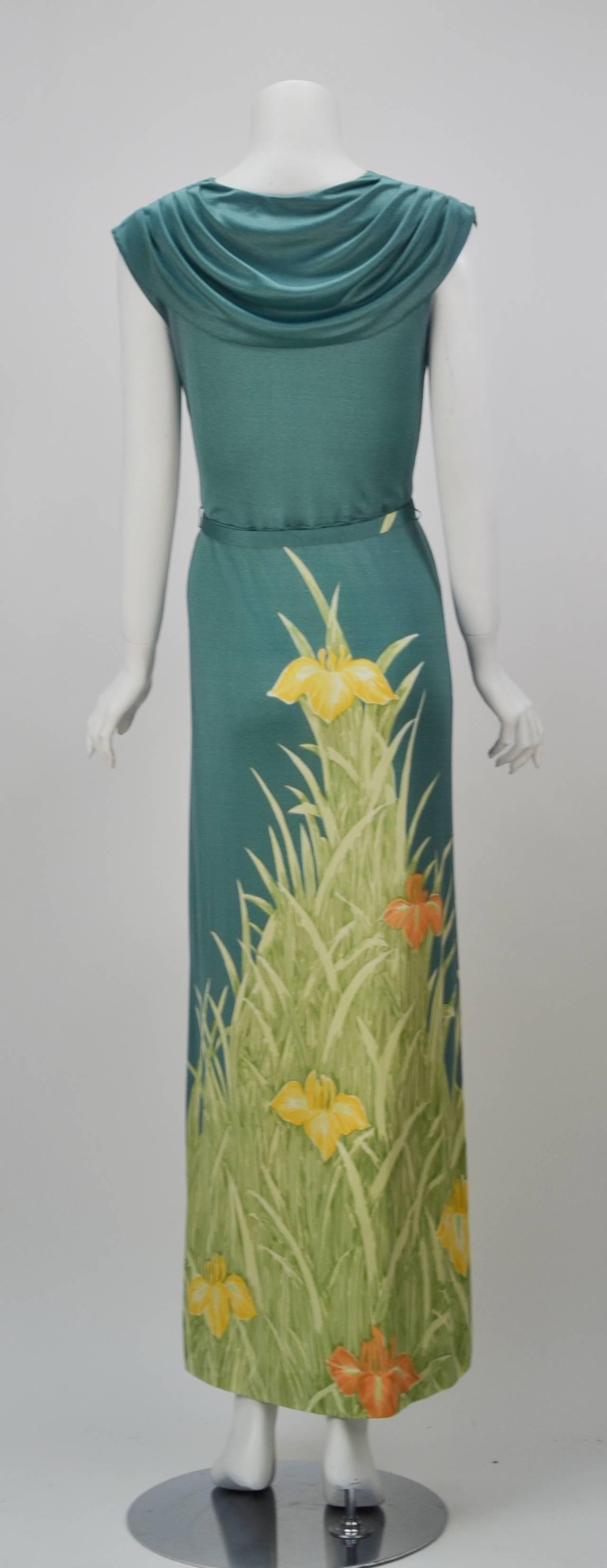 1970s Mac Tac for Leonard Sunshine Spring Print Maxi Dress 3
