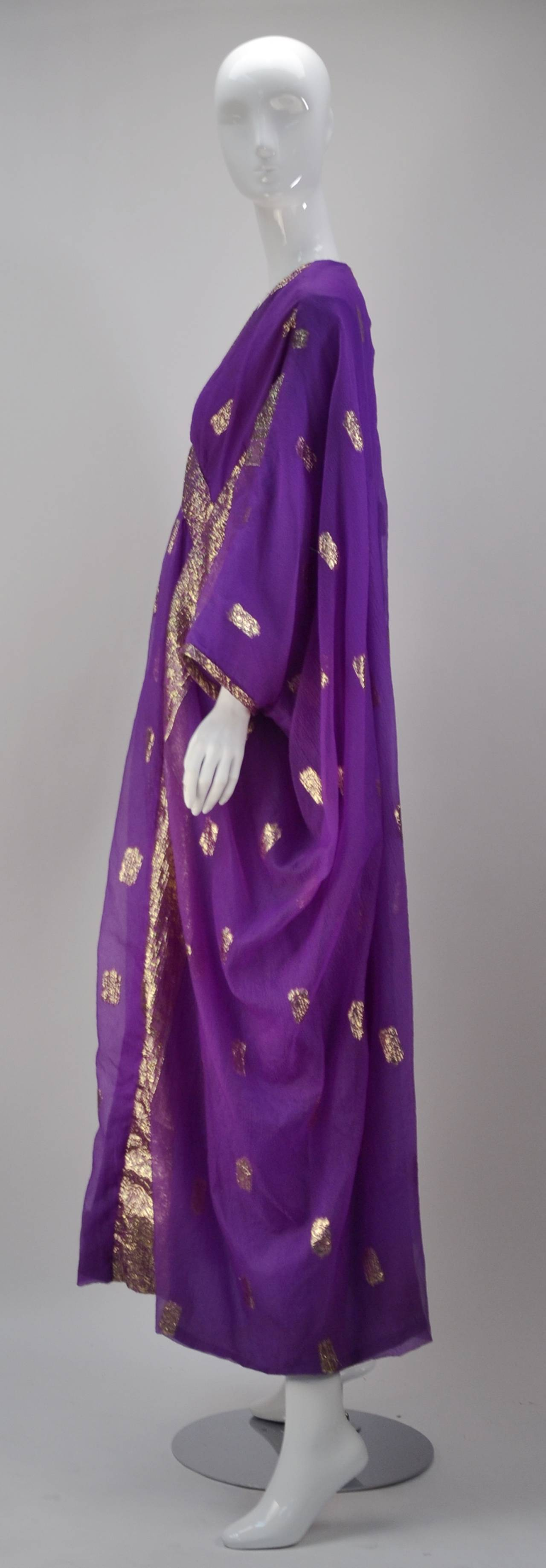 1960s May and Co. Gold and Purple Kaftan 3