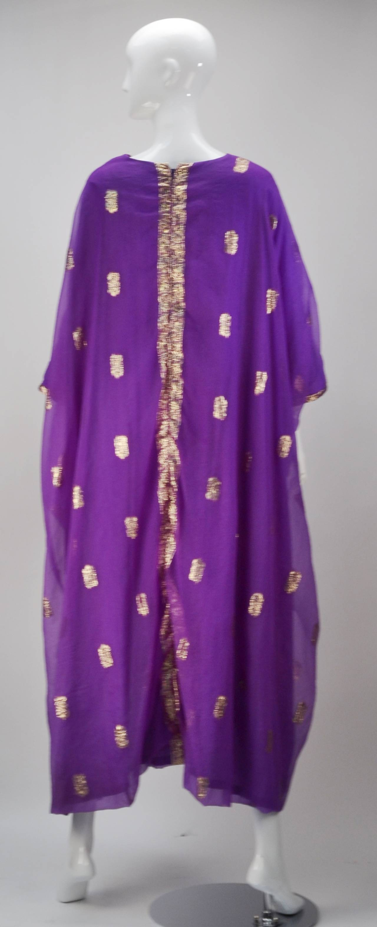 1960s May and Co. Gold and Purple Kaftan 2
