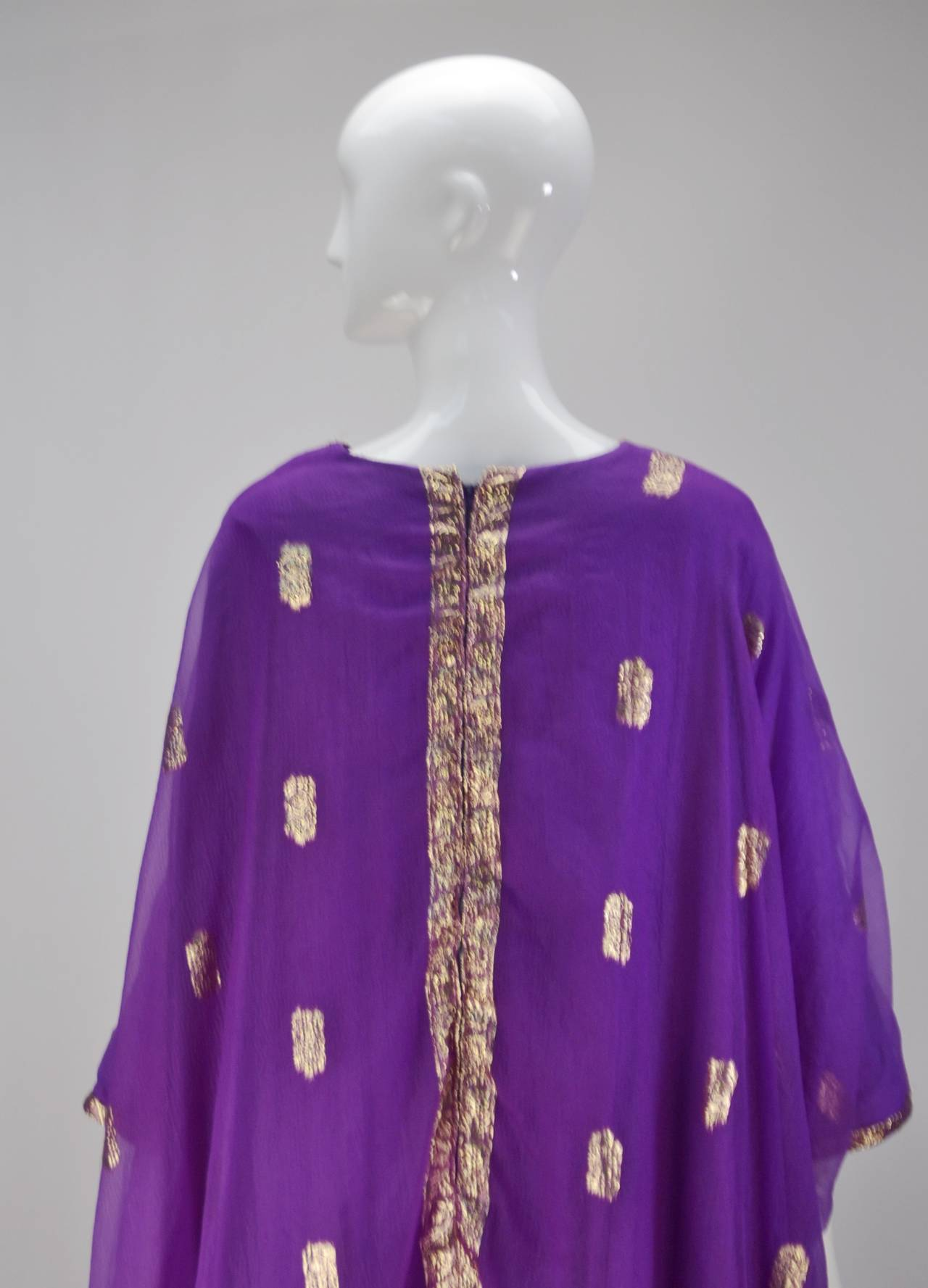 1960s May and Co. Gold and Purple Kaftan 6