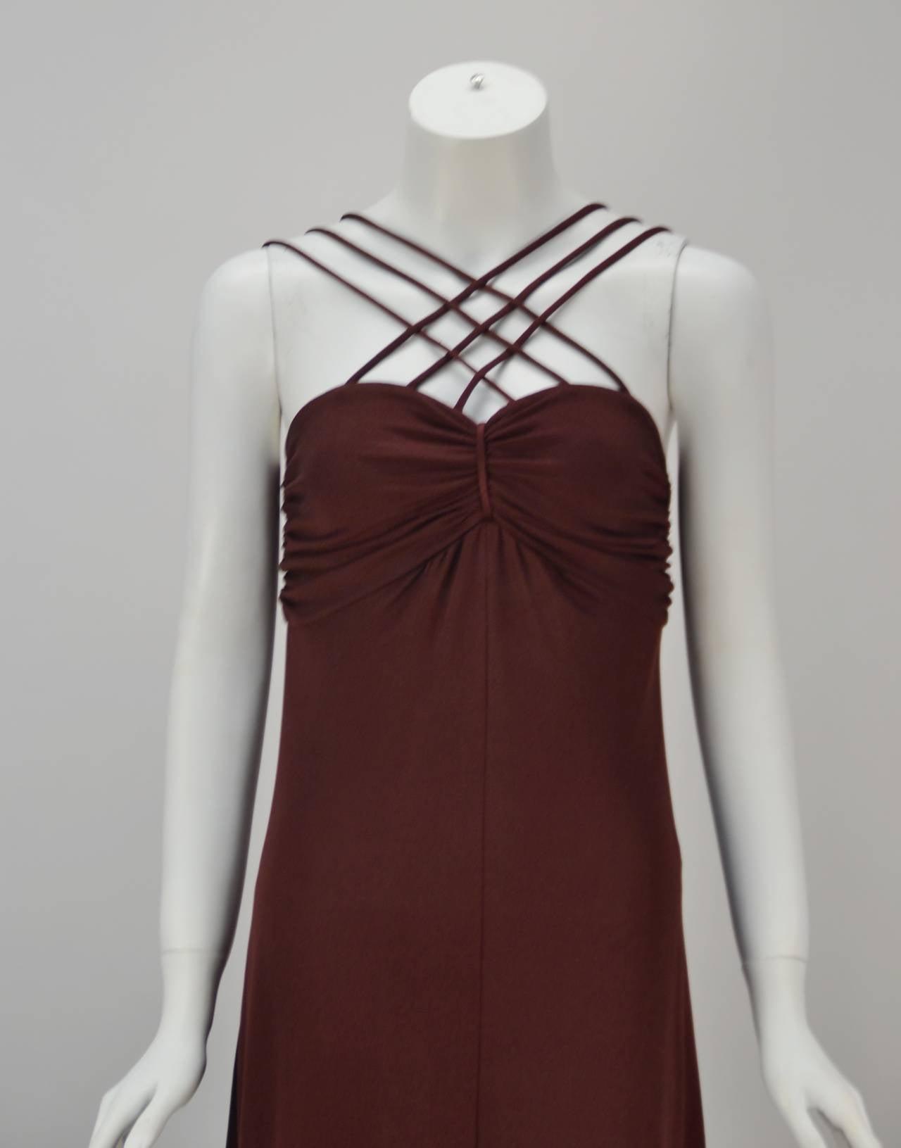 1970s Joy Stevens Criss Cross Strap Dress 5