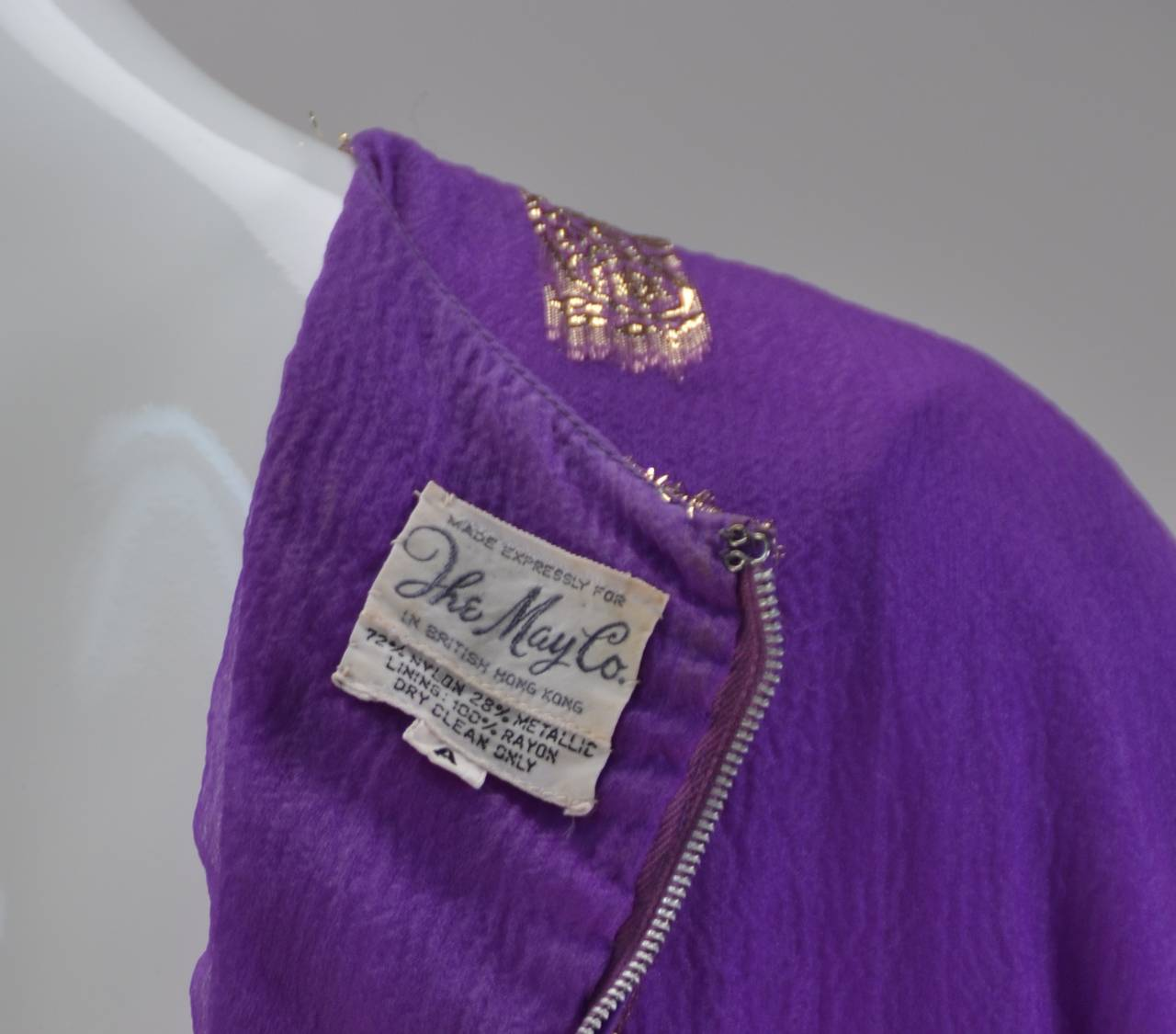 1960s May and Co. Gold and Purple Kaftan 7