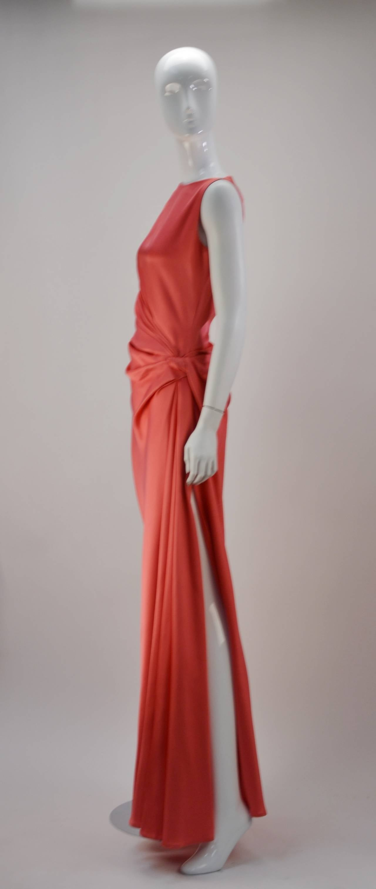 1970s Bill Blass Coral Evening Gown 4