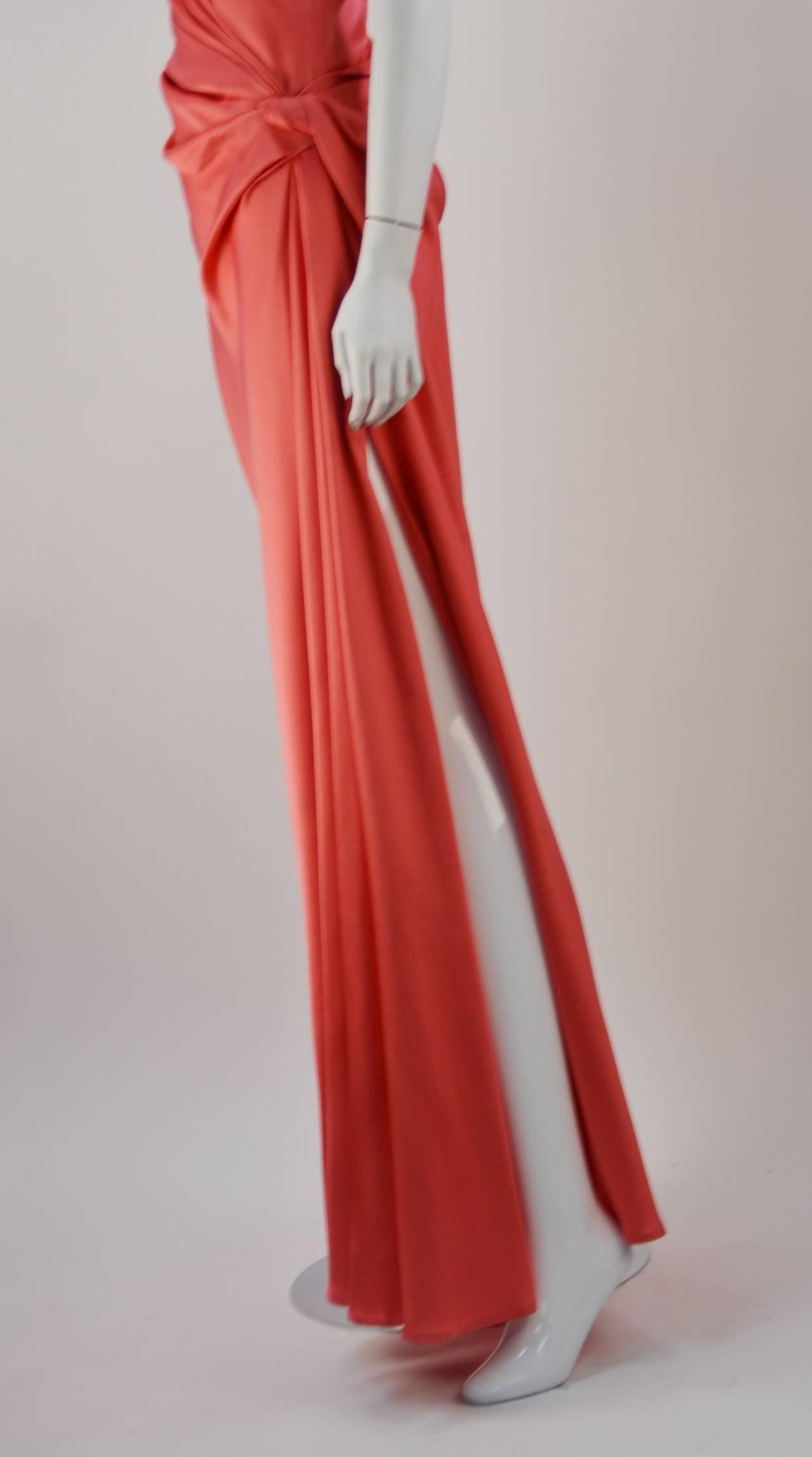 1970s Bill Blass Coral Evening Gown 5