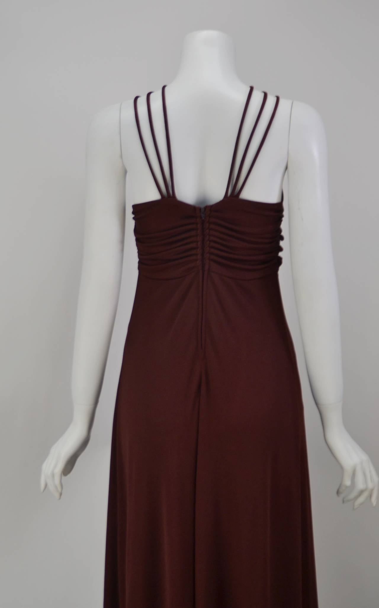 1970s Joy Stevens Criss Cross Strap Dress In Excellent Condition For Sale In Houston, TX