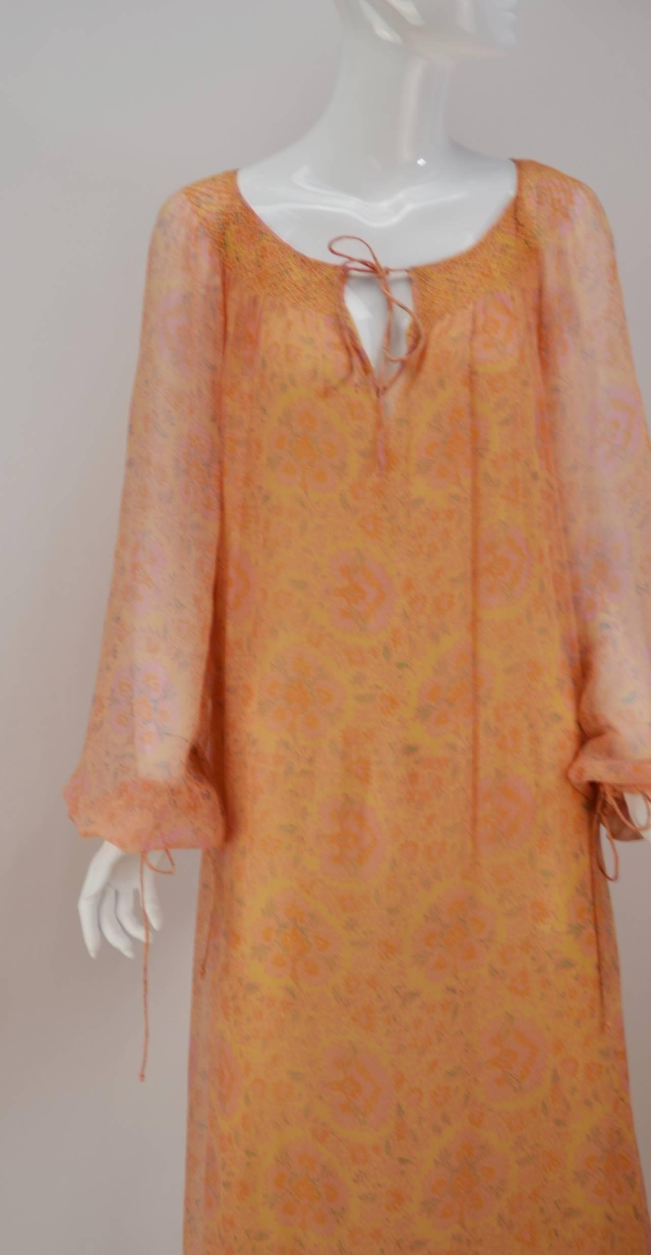 Women's Treacy Lowe Silk Chiffon Maxi gown, 1960s  For Sale