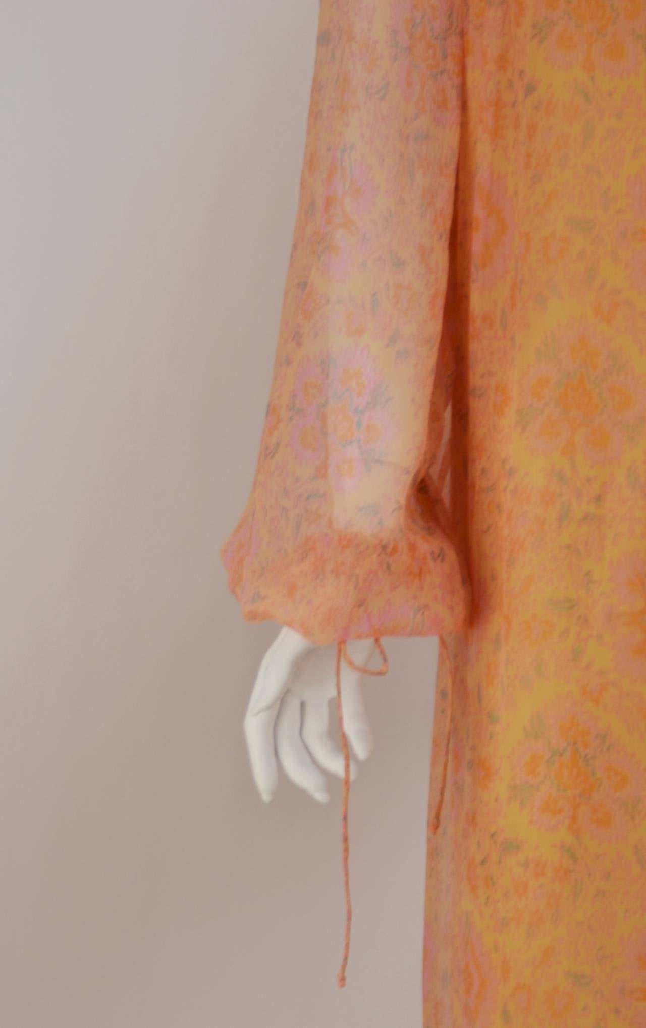 Treacy Lowe Silk Chiffon Maxi gown, 1960s  In Excellent Condition For Sale In Houston, TX