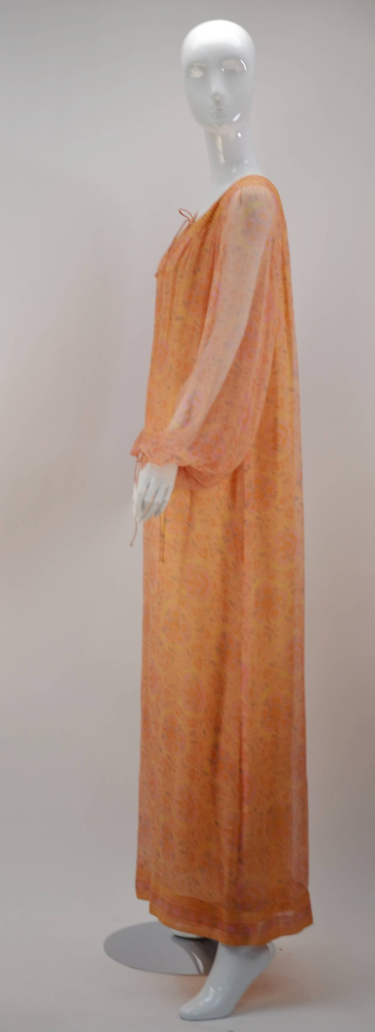 Orange Treacy Lowe Silk Chiffon Maxi gown, 1960s  For Sale