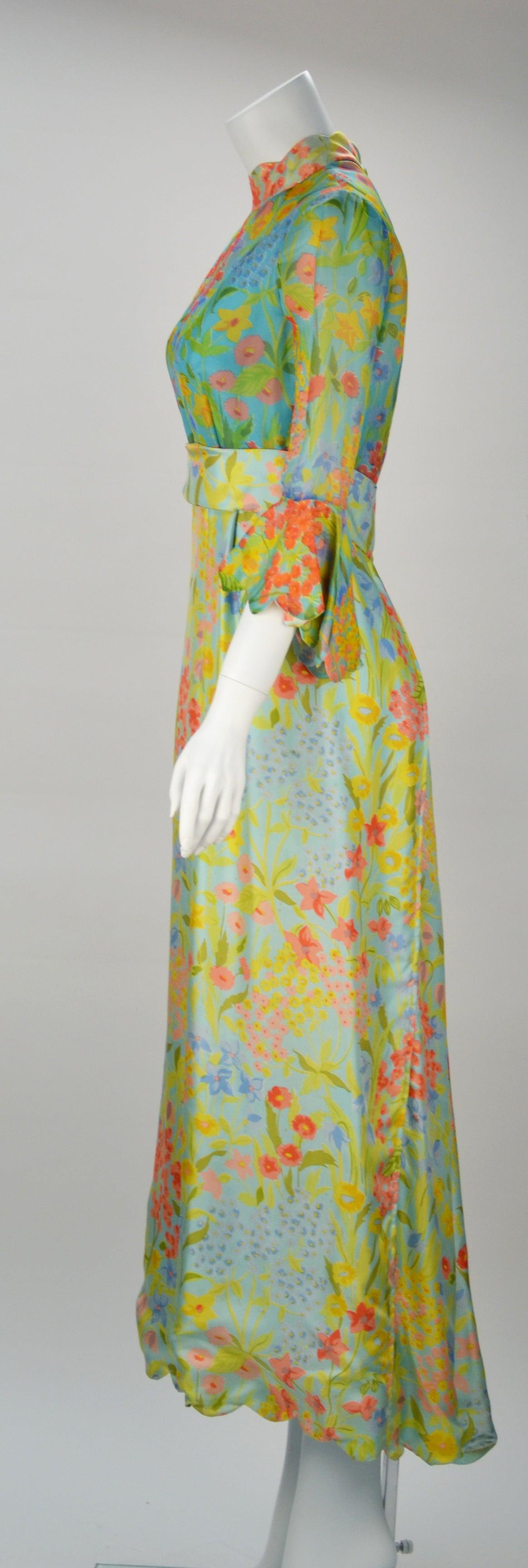1960s Tina Leser Original Floral Print Dress 3