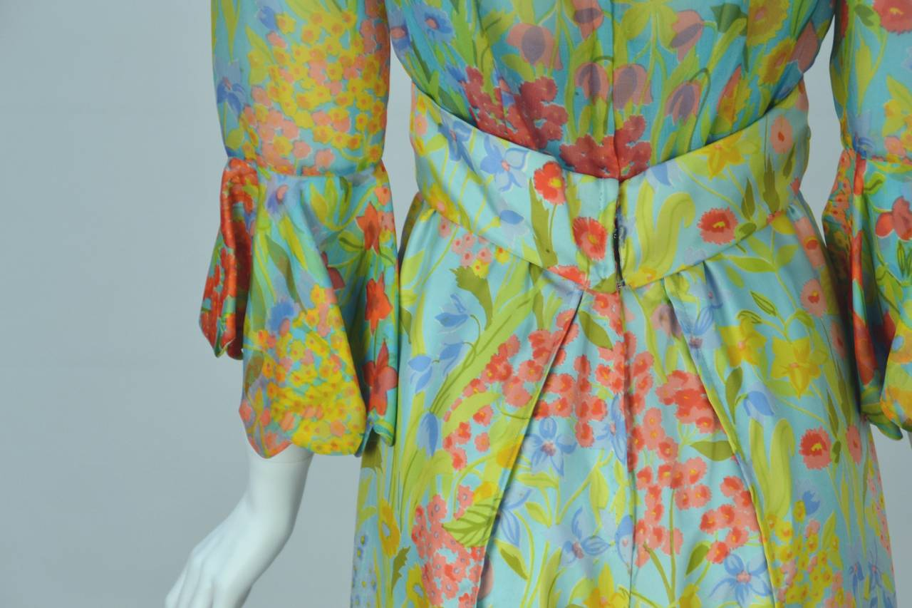 1960s Tina Leser Original Floral Print Dress 5