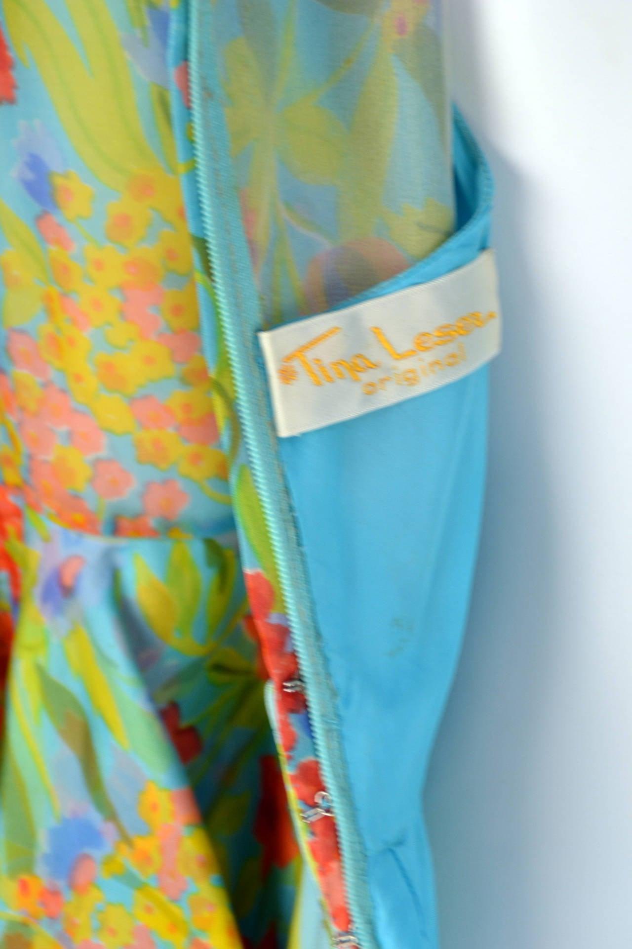 1960s Tina Leser Original Floral Print Dress 6