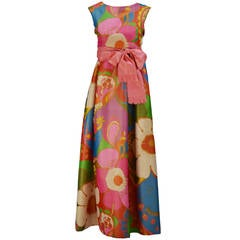 1960's Silk Flower Print Maxi Dress