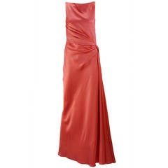 1970s Bill Blass Coral Evening Gown
