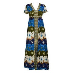 1960s Lame and Cotton Hawaiian Inspired Gown
