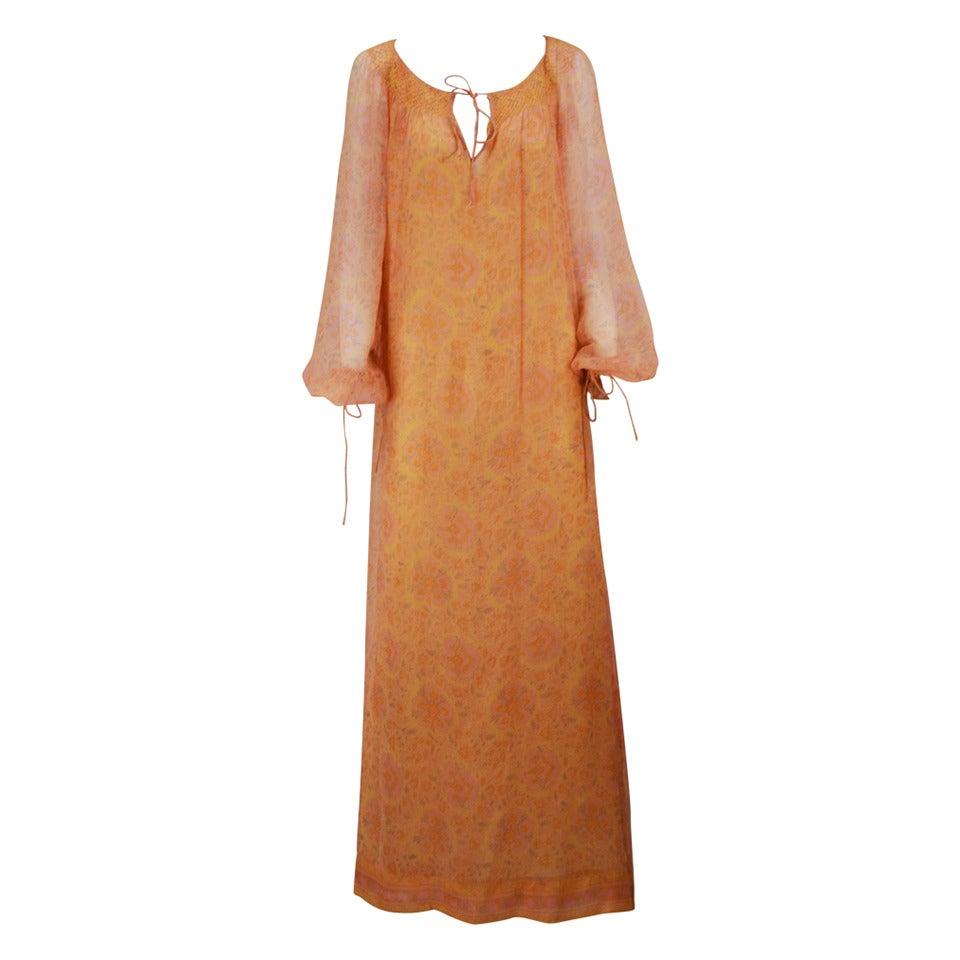 Treacy Lowe Silk Chiffon Maxi gown, 1960s  For Sale